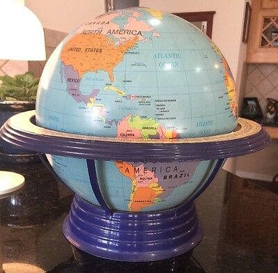 "Rare 16"" George F Cram Co. C96 Physical / Political World Globe With Metal Base"