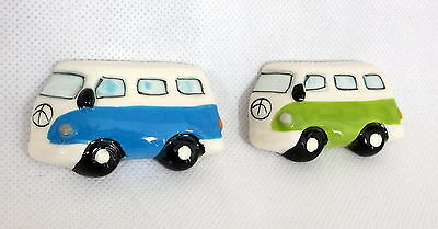 VW Camper Van Pair of Fridge Magnets Blue and Green New Ceramic Collectable
