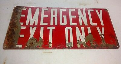 "Vintage/antique Metal Emergency Exit Only Sign 14"" By 6 1/2"" Original"