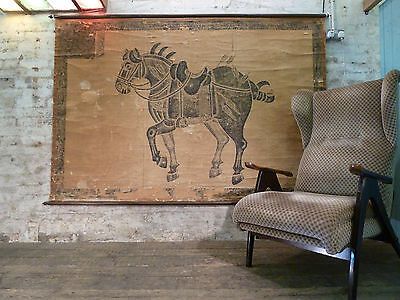 Vintage Education Poster Depicting a Horse in the Middle Ages Retro Antique Art