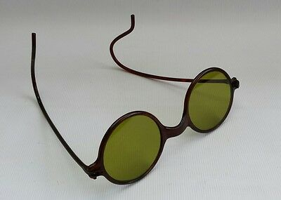 Original Vtg 1920s Tortoiseshell Sunglasses Green Lenses Steampunk