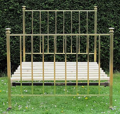Victorian Brass Standard Double Bed with Pine Base by Hoskin & Sewell