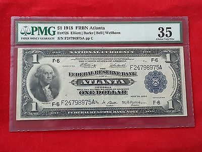 FR-726  1918 Series $1 Atlanta Federal Reserve Bank Note *PMG 35 Choice VF*