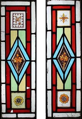 Beautiful Victorian Painted English Floral Stained Glass Windows