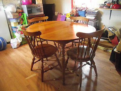 Antique table and 4 windsor chairs with lazy susan