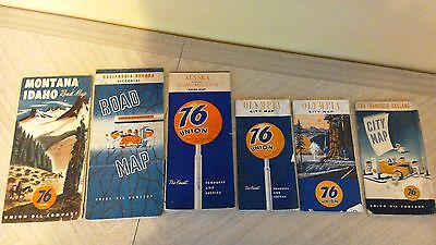 Mixed lot of 6 1940s-60s Union Oil Company Union 76 road maps City Maps Look!