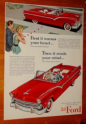 RED 1955 FORD SUNLINER CONVERTIBLE AD - AMERICAN 50s VINTAGE FIFTIES RETRO