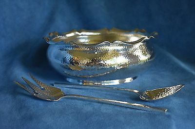 Antique 1893 Arts & Crafts KOCH BERGFELD 800 Germany Sterling Silver Bowl Set