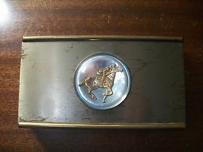 Metal race horse trinket jewelry box gift vintage thoroughbred decor