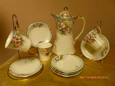 Antique Nippon Handpainted Chocolate Pot 10pc Set Maruki Gold Floral Lilac Pink