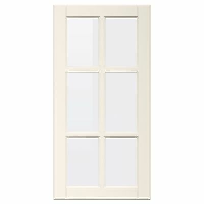Ikea BODBYN Glass Door Off-White Front - For METOD Kitchen 30x80 cm - 802.737.46