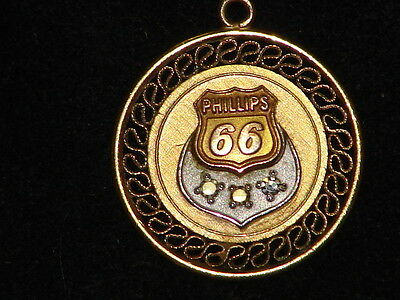 Phillips 66 Gas Station Employee Pin, Pendant Genuine Diamond, Gold