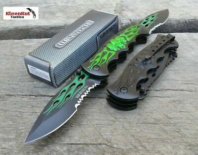 """12"""" TACTICAL Spring Assisted SKULL Pocket Knife DOUBLE FLAME BLADE Folding GREEN"""