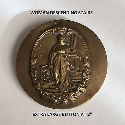 "Beautiful Large Vintage Button ""woman On Stairs"" In A One Piece Stamped Brass"