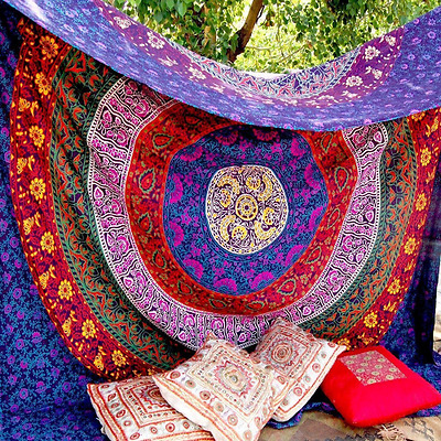 Indian-hippie Bohemian-ethnic-psychedelic Multi-color-mandala Wall-hanging-tapes