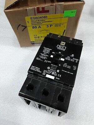 EGB34080 Square D SQD Type EGB Circuit Breaker 3 Pole 80 Amp 480V (New)