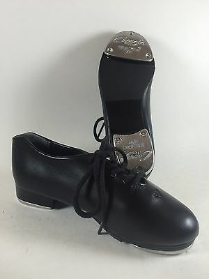 Youth Capezio 10.5 M Tap Dancing Lace Up Black Leather Tic Tap Toe Shoes-New/Box