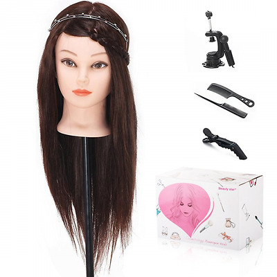 Beauty Star® 50CM 40% Cheveux Brun Long Naturel Tête À Coiffer Co