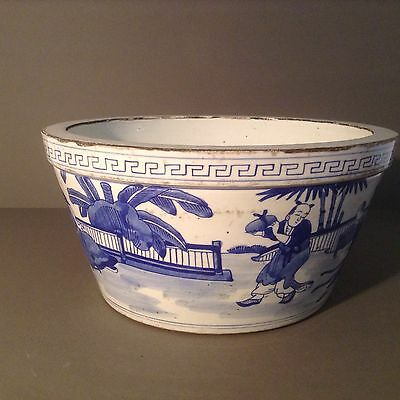 Antique Chinese Blue And White Large Bowl