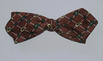 Vintage 1950's Men's Brown Green Yellow Paisley Checkered Clip On Bow Tie