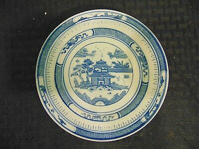 Blue and White Japanese Chinese Asian Scenery Dessert Plate