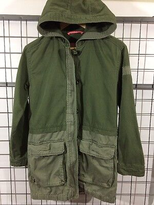 Abercrombie Kids Youth Large Hooded Green Jacket Military Size L 14 Zip-Up