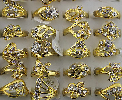 Newest Wholesale Mix Lot 30pcs Rhinestone Gold Plated Women's Charm Rings AN02