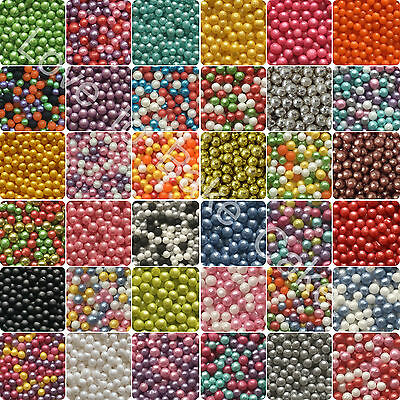 25g 50g 100g 200g 3mm EDIBLE SUGAR GLIMMER PEARLS BALLS Cupcake Cake Sprinkles