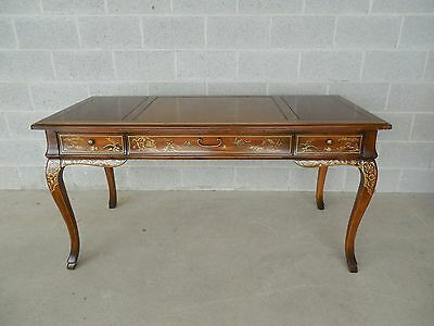 DREXEL Et Cetera Chinoiserie Decorated Tooled Leather Top 3 Drawer Writing Desk
