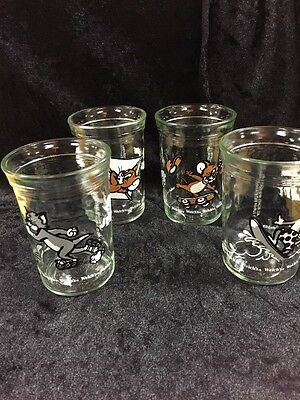 Welchs Jelly Jars Tom & Jerry Drinking Glass 1990 Set of 4 Juice Tumbler Lot VTG