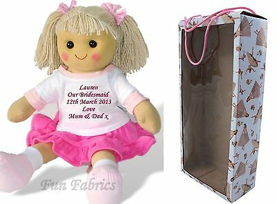 Personalised Rag Doll Bridesmaid Flower Girl 40cm Dolly + Gift Box Keepsake