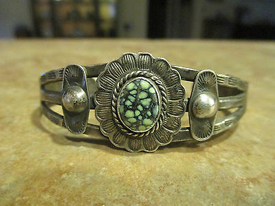 OLD 1900's Fred Harvey Era Navajo Sterling Silver DAMELE Turquoise Cuff Bracelet
