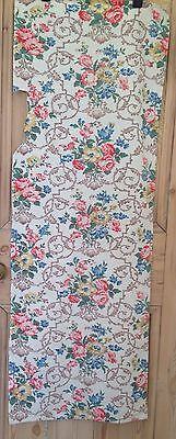 1940's vintage rose curtain panel fabric upholstery sewing