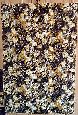 Abstract vintage mid century rose print cotton fabric, 1950's.