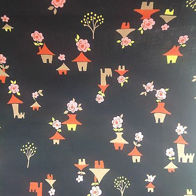 vintage 1940's cotton fabric novelty print japanese houses and flowers & Trees