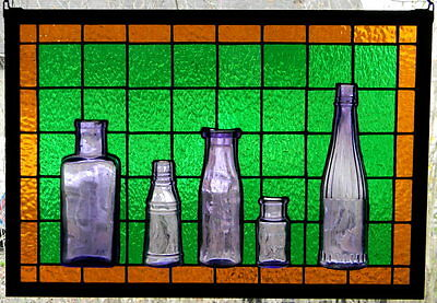 Stained Glass Panel with Antique Bottles