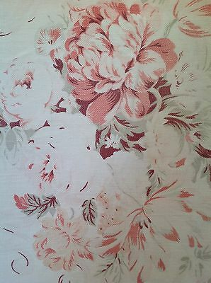 faded english rose beautiful upholstery cotton vintage fabric panel