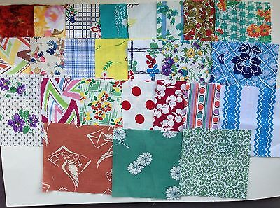 lot of vintage 1930's/40's cotton fabric quilting squares cherries florals bees