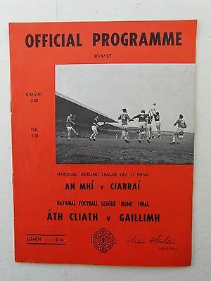 GAA Football Programme League Home  Final Dublin v Galway 1967