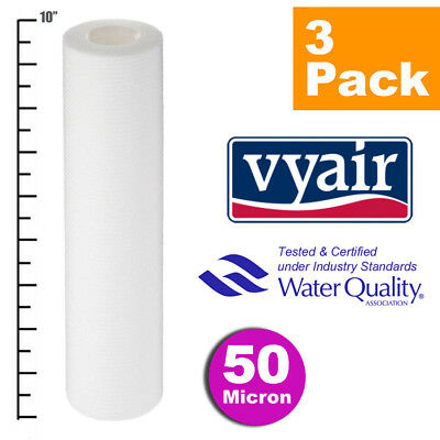 """VYAIR 10"""" PP 50 Micron Particle, Sediment, Reverse Osmosis Water Filter x 3"""