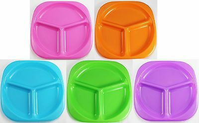 Babies Divided Plate Kids Toddler Baby Dinner Feeding Bright Colours 5 Colours