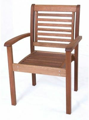 Amazonia Eucalyptus Wood Stackable Mission Style Chair Patio