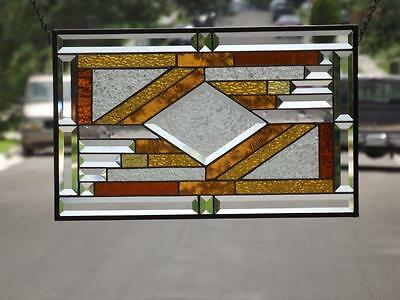 "*CENTERED *Beveled Stained Glass Window Panel • ≈21 1/2""X13 1/2""(55 x34.5Cm)"