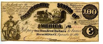 1861    $100  Counterfeit   Confederate Currency