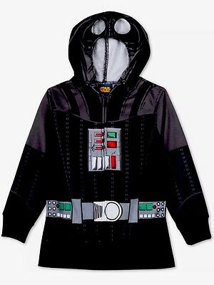 NEW Youth Boys Star Wars Darth Vader Black Costume Zip Front Hoodie Size M XL