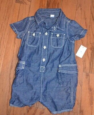 Boys Baby Gap Denim Look /Linen Romper One Piece Outfit 6-12 Months NWT