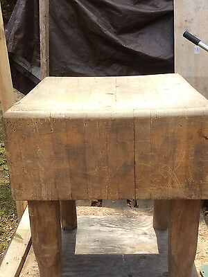 Antique Wood Butchers Block 100+ Years Old Great Character Decorator Piece