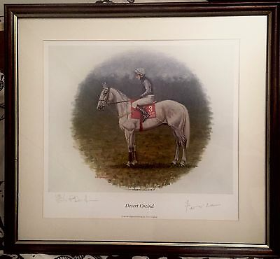 Desert Orchid by Peter Deighan. Print: signed by artist and Peter O'Sullevan.