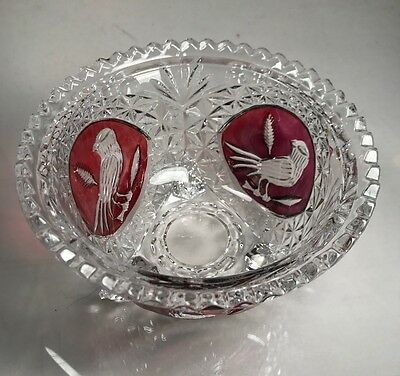 BEAUTIFUL Hofbauer CANDY NUT DISH BOWL RED CUT TO CLEAR CRYSTAL BIRDS Byrde