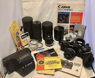 Canon EF Black Beauty SLR 35mm Camera w/ Lots of Accessories Extra Lenses